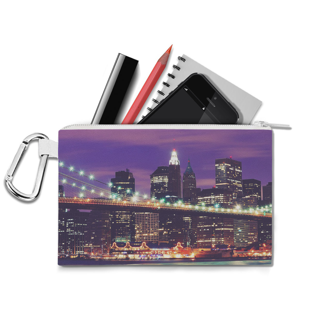 New York City At Night Canvas Zip Pouch