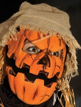 Pumpkin Head Mask Scarecrow Moving Mouth Hat Straw Hair Halloween Costum... - $86.16 CAD