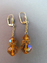 VTG West Germany GES GESCH Crystal Pierced Earrings Gold Plated Dangle R... - $18.80