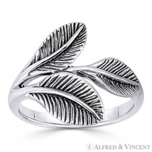 Triple-Laurel Leaf Victory Charm Right-Hand Ring in Oxidized 925 Sterling Silver - $27.19