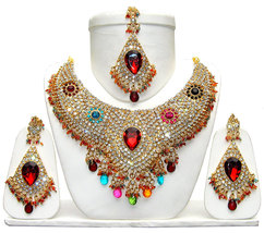 Zicsy Ethnic Jewelry CZ Gold Plated Alloy Necklace Set BOMM329 - $38.00