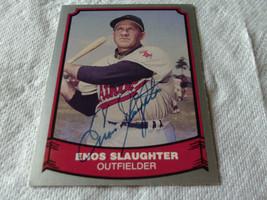 ENOS  SLAUGHTER  HAND SIGNED  AUTOGRAPHED   BASEBALL  LEGENDS 1988  # 84... - $19.99