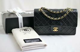 "CHANEL Vintage Medium 10"" Black Lambskin Leather Flap Bag 24k GH AUTHENT... - $2,900.30"
