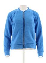 H Halston Lightweight Textured Knit Bomber Jacket Zip Rain Blue 12 NEW A... - $36.61