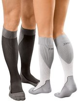 JOBST Sport Knee High 20-30 mmHg Compression Socks, White/Grey, Medium - $65.92