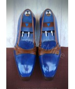 Men's Handmade Blue Leather Butterfly Loafers Two tone dress loafers for... - $179.99