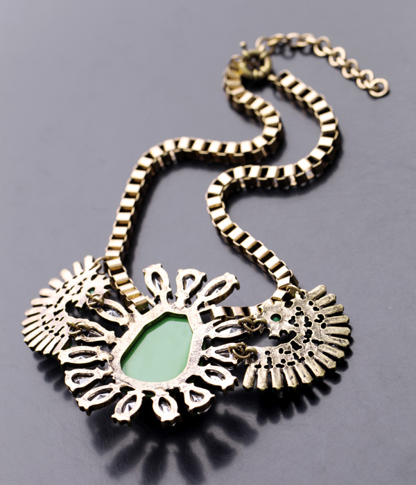 Unique Bubble Statement Pendants Vintage Blue and Green Box Chain Necklaces