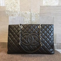 AUTHENTIC CHANEL BLACK QUILTED CAVIAR XL GST GRAND SHOPPING TOTE BAG SHW