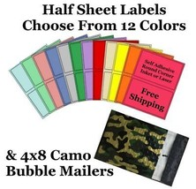 4x8 ( Camo ) Poly Bubble Mailers + Half Sheet Self Adhesive Shipping Labels - $1.99+