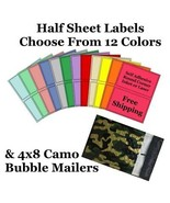 4x8 ( Camo ) Poly Bubble Mailers + Half Sheet Self Adhesive Shipping Labels - $2.99+