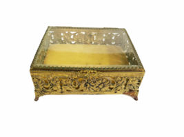 Vintage Regency Ornate Decorative Gold Gilt Tone Box Vanity Jewelry Trinket image 1