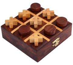 Handmade Wooden Puzzle Tic Tac Toe Indoor Outdoor Board Game X-mas Gift ... - $22.33