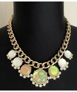 Faux Opal Faux White Stones Clear Rhinestones Gold Tone Bib Necklace - $14.84