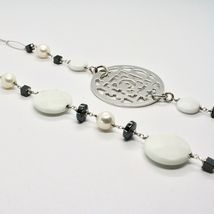 Long Necklace 1 MT Silver 925 with Hematite Agate and Pearls Made in Italy image 6