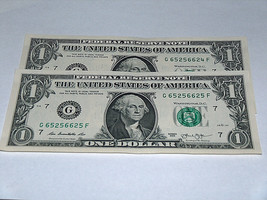 2 Lot 2013 $1 Dollar Bill US Note Consecutive # 65256624 65256625 Fancy ... - $28.48