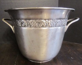 Pottery Barn Hotel Silver Wine Champagne Cooler Ice Bucket handled embos... - $39.99