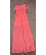 Womens Heart & Soul Bright Coral Pink Lined Maxi Beach Dress Size Med - $19.79