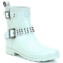 Hunter women 8 Refined Stud waterproof biker boot light blue - $108.90