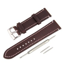 21mm Genuine Leather Strap White Contour Stitching Watch Band Kit Stainl - $24.54