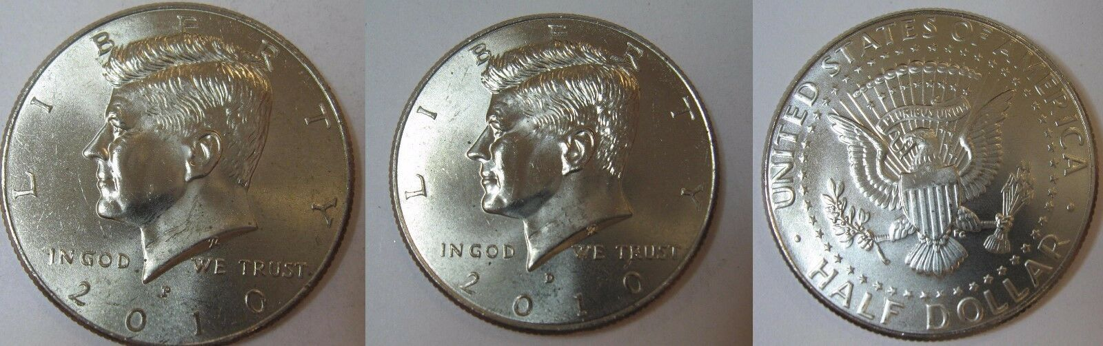 2010 P and D  BU Kennedy Half Dollar from US Mint Roll CP2438