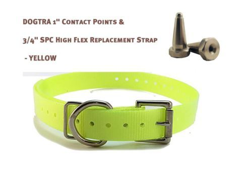 "DOGTRA 1"" Contact Points & 3/4"" SPC High Flex Replacement Strap - Neon Yellow"