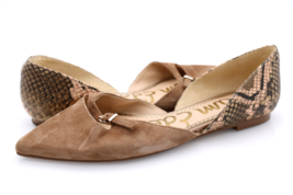 Sam Edelman Womens 6M Brown Leather Rina Pointed Toe D'Orsay Flats Snake EUR 36 - $39.99
