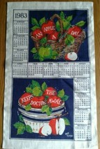 Unused 1983 Linen Kitchen Calendar Towel ~ An Apple A Day Keeps the Doct... - $7.91