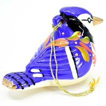 Handcrafted Painted Ceramic Blue Jay Bluejay Confetti Ornament Made in Peru image 4