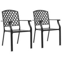 vidaXL 2x Outdoor Stacking Dining Chair Steel Mesh Outdoor Garden Bistro... - $137.99