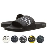Hugo Boss Men's Graphic Rubber Slip On Beach Pool Solar Slides Sandals 5... - $64.99