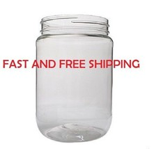 32 Ounce Clear Round Wide Mouth PET Plastic Bottle Jars W/ Caps 967ml  S... - $5.98+