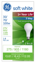 2x General Electric 30/70/100w 3 Way Long Life Incandescent Light Bulb White NEW image 2