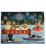 July 4th Canoe Placemats Dogs Dog of 4 Vinyl Beach Summer Fireworks Patr... - $27.70