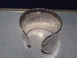 Hammered Wide Cuff Silver Plated 925 Sterling Silver Handcrafted Bracelet image 3