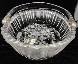 """Mikasa Winter Dreams Frosted Crystal Glass Bowl Handle Basket Platter 9.5"""" - $14.84"""