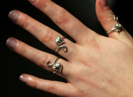 Sterling Silver Cat Head and Tail Torque Ring Handmade by Welded Bliss - Sizes - $19.54