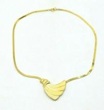 TRIFARI Gold Tone Beige Enamel Fan 1970-80's Choker Necklace Vintage - $39.59