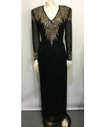 Oleg Cassini Black Tie 8 Black Gold Silver Sequins Beads Formal Gown Dress  - $416.50
