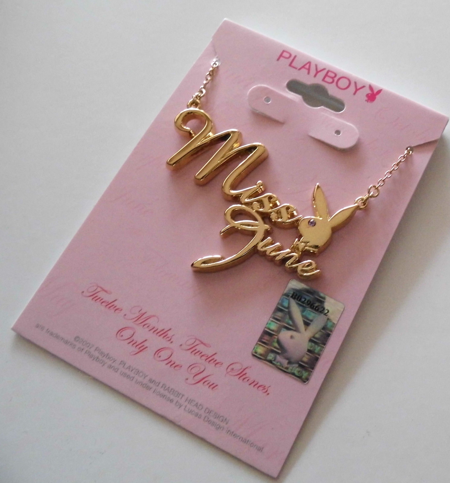 Playboy Necklace MISS JUNE Bunny Logo Pendant Gold Plated Playmate of the Month