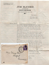10/02/1944 TENNESSEE GOVENOR JIM MCCORD WWII REFERENCES LETTER FROM MRS.... - $19.99