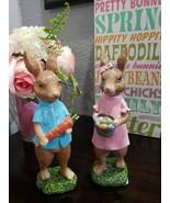 Easter Spring Vintage Style Glitter Bunny Rabbit Figurines Set of 2 - $44.99