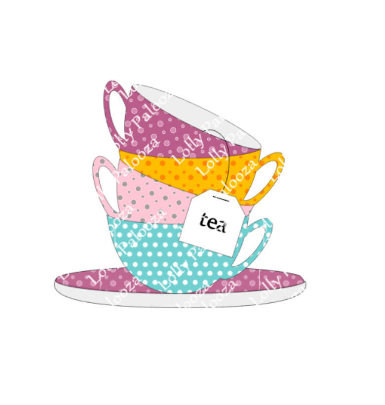 Teacups DIGITAL File.  Instant Download. No Physical Items Shipped.  PNG & SVG F