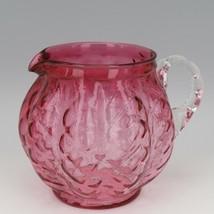 Vintage Fenton Art Glass Ruby Overlay Melon Rib Diamond Optic Pitcher 1950s image 1