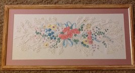 Needlework sampler crewel embroidery candlewicking floral wedding bouque... - $45.00