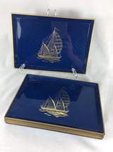 Gibson Greeting Cards Sail Boat Ship Lacquer Square 1 Tray Otagiri Japan... - $12.19