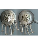 I Love Dice Charm Earrings Silver Finish - $10.00