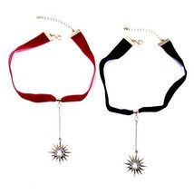 Women Choker Necklace Jewelry Accessories Star Pendant Lace Black Red Co... - $10.99
