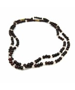 """Necklace Rosewood and Clear Beads Decorative Necklace Choker 7""""   Metal Clasp - $28.02"""