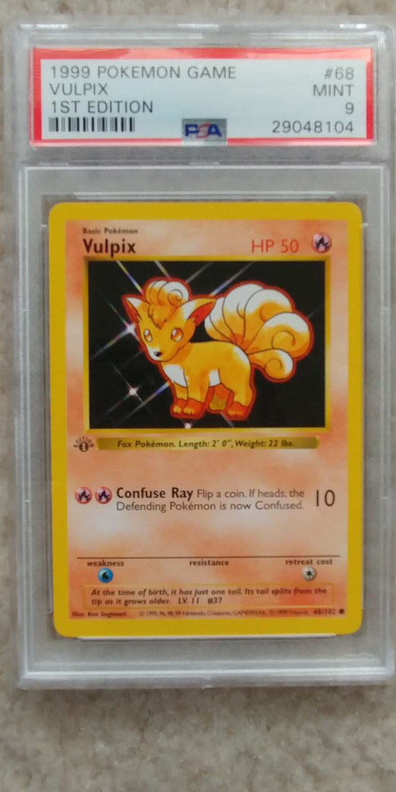 Pokemon Vulpix 68/102 1st Edition Base Set PSA 9 1999 Pokemon Game Shadowless