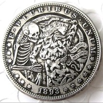 New Hobo Nickel 1893 Dollar Skeleton Dancing Butterfly Woman Lady Casted... - $11.99